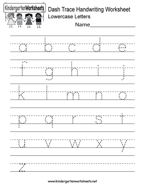free printable writing worksheets for kindergarten kindergarten dash trace handwriting worksheet printable
