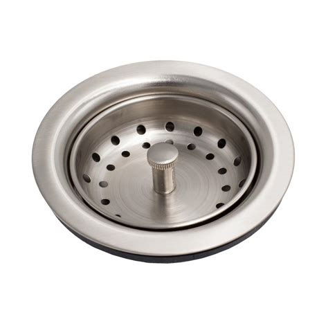 Kitchen Sink Drain Strainer Basket Sinkology Kitchen Sink 3 5 In Strainer Drain With Post Style Basket In Nickel Tb35 02 The