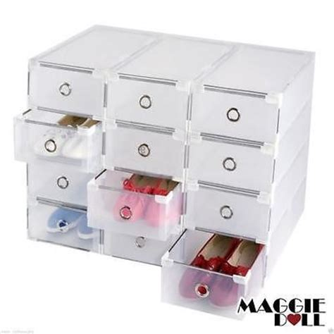 see through sneaker boxes maggiedoll 20 x clear plastic see through drawer shoes