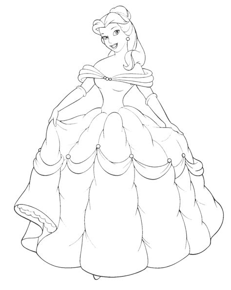 disney princess belle gown coloring sheet