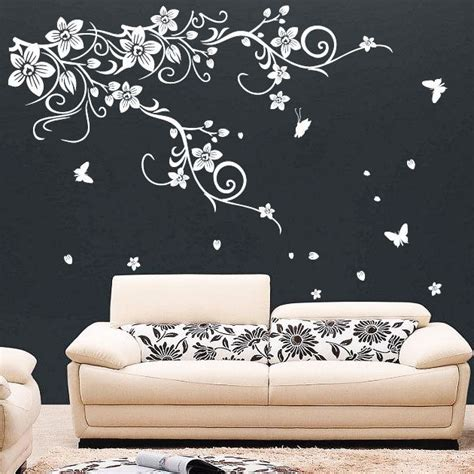 large butterfly wall stickers large vine flower butterfly wall stickers wall decal ebay