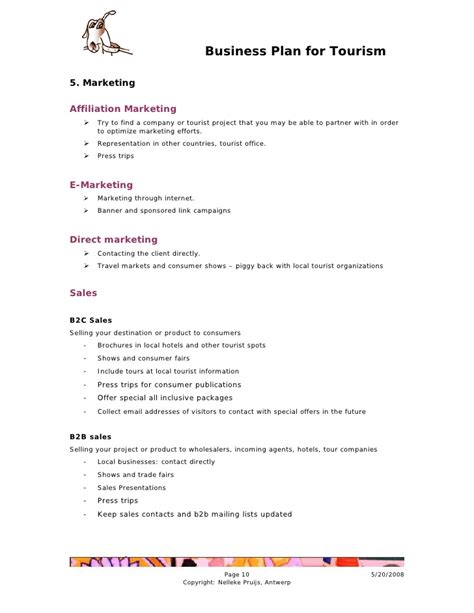 tourism marketing plan template businessplan for tourism index