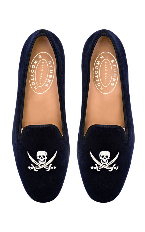 skull velvet slippers shoeniverse stubbs wootton blue skull loafer in navy velvet