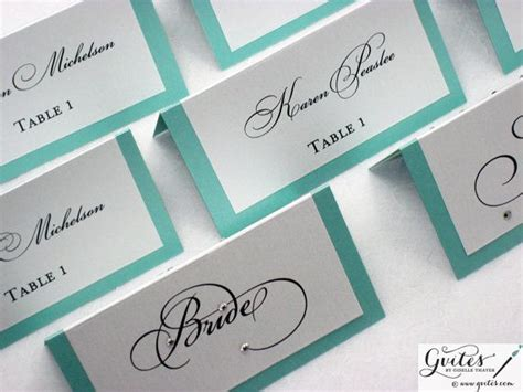 blue place cards sided wedding place