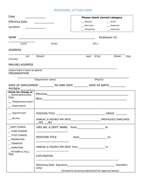 26 Personnel Action Forms In Doc Free Word Format Download Personnel Form Template
