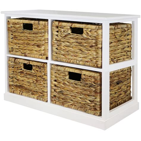 hartleys 2x2 white wood home storage unit 4 wicker drawer