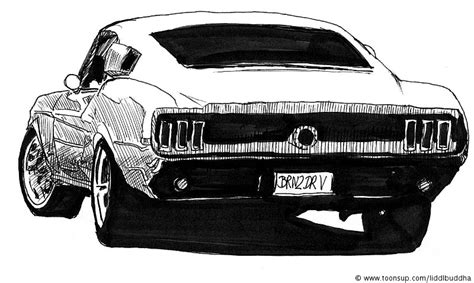Mustang Auto Zeichnen by Illustration 1965 Ford Mustang Fastback