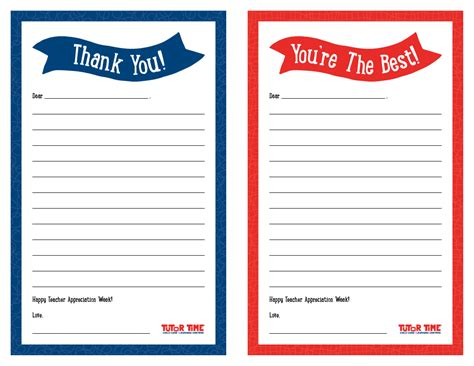Thank You Note Template Kindergarten Printable Thank You Notes For Appreciation Week