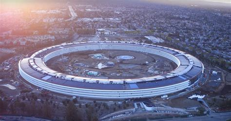 apple park latest drone footage offers clearest look yet at apple