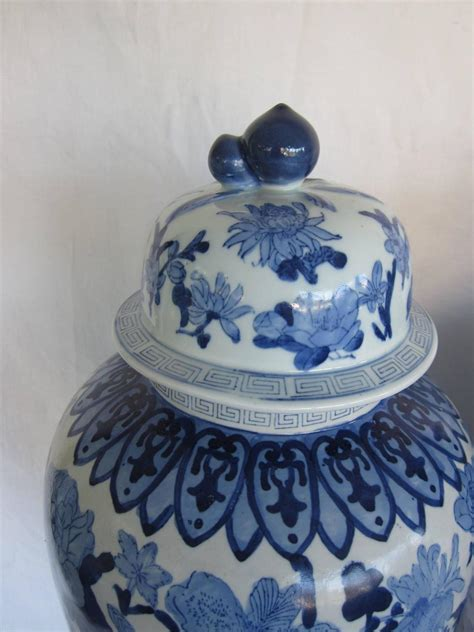 Vases With Lids For Sale Large Pair Of Blue And White Vases With Lids For