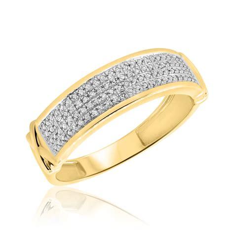 5 8 ct t w trio matching wedding ring set 10k