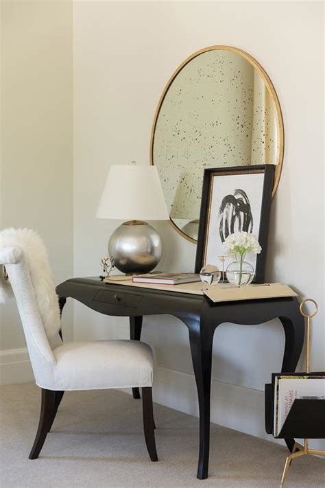 black desk for bedroom mixed materials desk with white and green drapes transitional bedroom