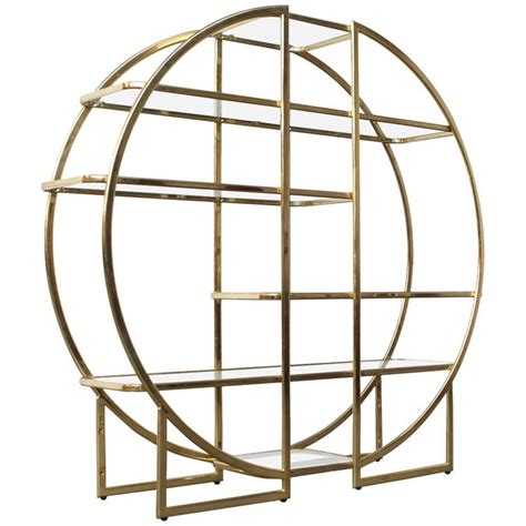 Glass Display Shelf by Circular Brass Etagere With Glass Display Shelves At 1stdibs