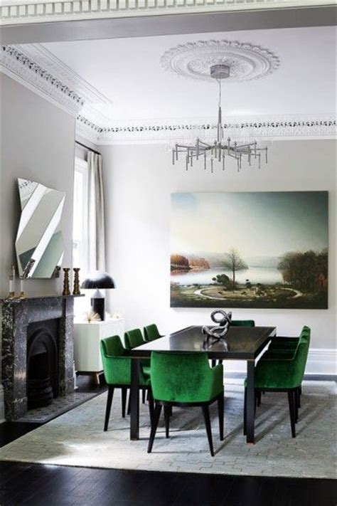 Green Dining Room Accessories The Emerald Green Chairs In This Otherwise Monochromatic