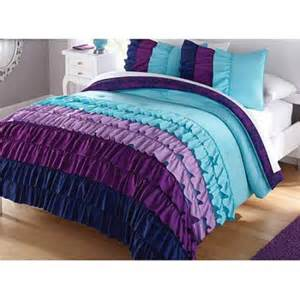 your zone indigo ruffle 2 piece bedding comforter set