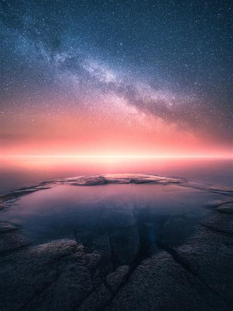 wallpaper horizon sunset starry sky collision
