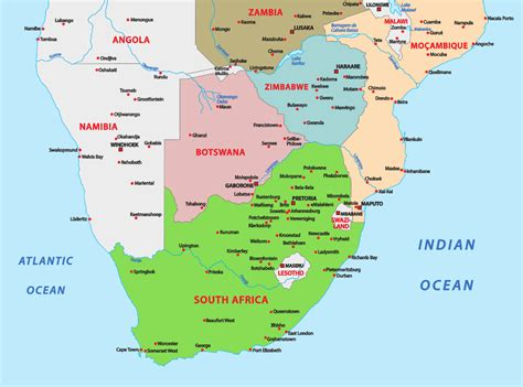 southern africa map map of southern countries adventure to africa