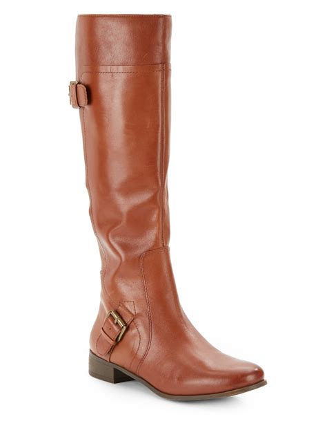 nine west leather boots nine west buckle detail leather boots in brown lyst