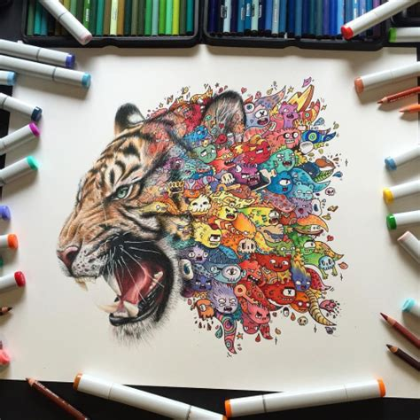 how to draw a doodle tiger tiger doodle by vexx visit my for more