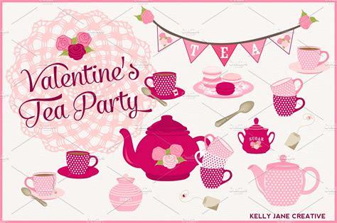 Kitchen Tea Ideas Themes valentine s day tea party illustrations creative market