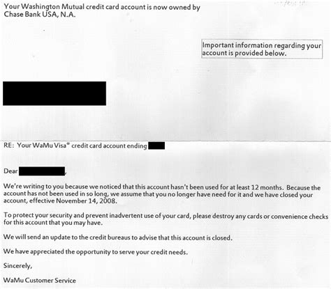 Credit Card Letter Account Money Cancels My Wamu Credit Card