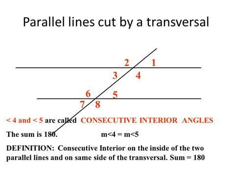 Interior Angles On Parallel Lines by Parallel Lines Cut By A Transversal Ppt