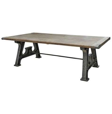 Industrial Reclaimed Wood Dining Table Boone Industrial Reclaimed Grey Wood Cast Iron 86 Quot Dining Table Kathy Kuo Home