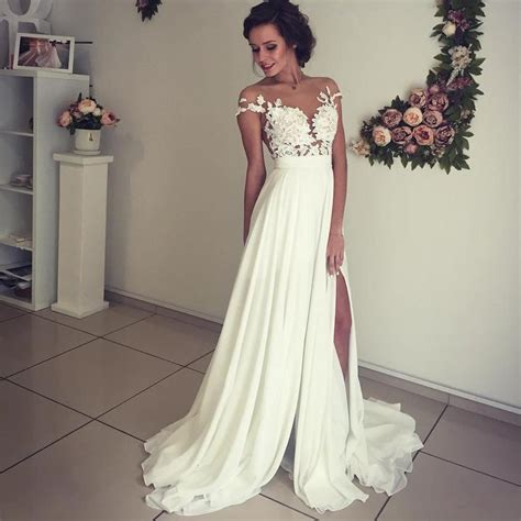 Boho Beach Wedding Dresses Lace Appliques Chiffon Wedding Gowns 2018 ? alinanova