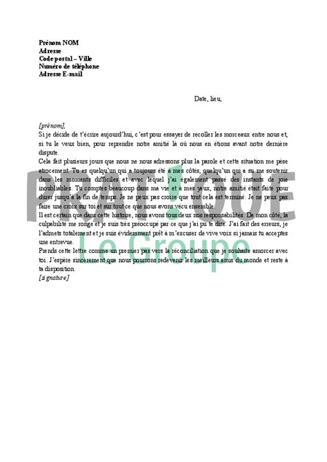 Exemple De Lettre Amicale lettre d excuses pour un ami pratique fr