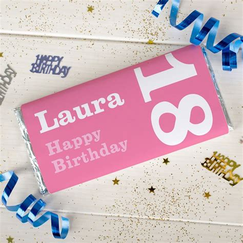 personalised chocolate bar 18th birthday for her