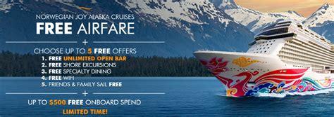 airfare  norwegian joy alaska cruises