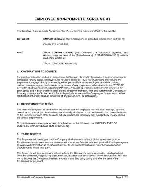 non compete clause template non compete agreement exle free printable documents