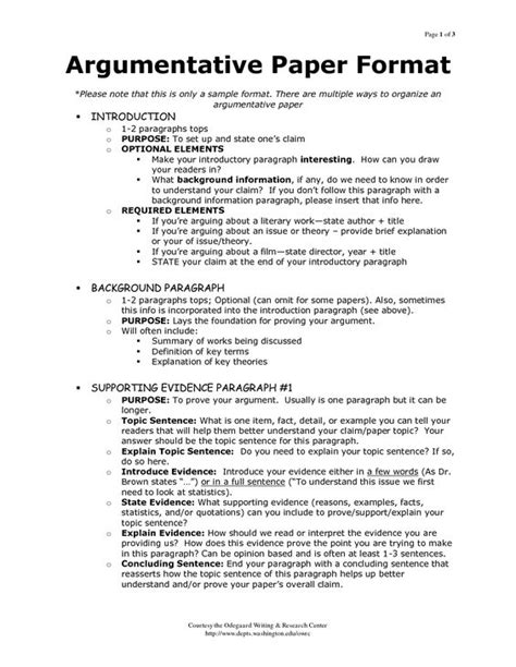 Argumentative Sle Essay outline of argumentative essay sle search my
