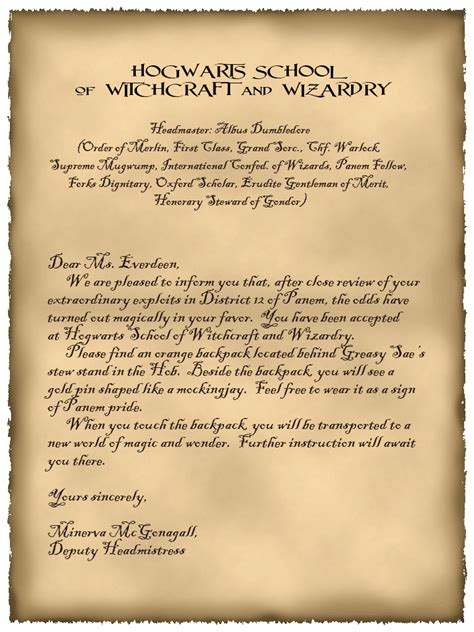 Harry Potter Acceptance Letter Age Hogwarts Invitation Template Invitation Template