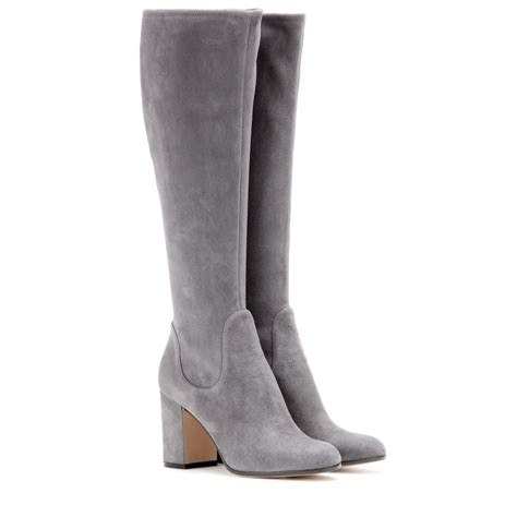 gray boots gianvito suede boots in gray lyst