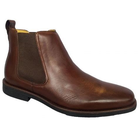 steptronic mens brown leather chelsea boots