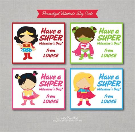 superheroes valentines day personalized printable valentines by petit
