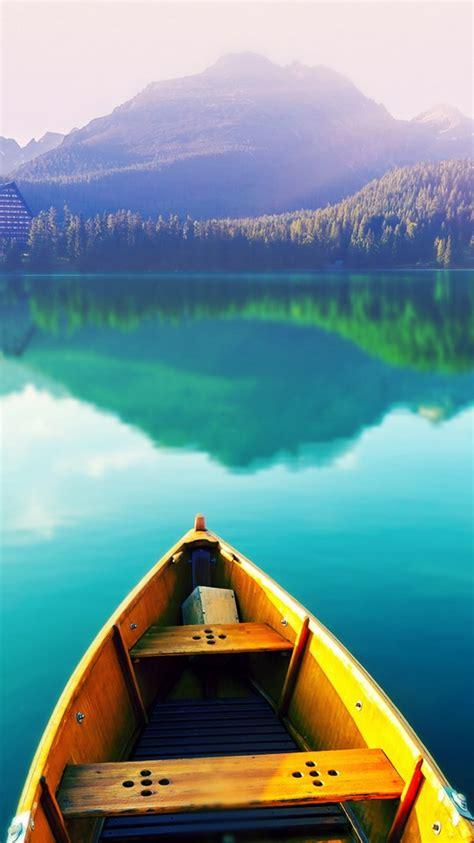 boat   lake iphone  wallpaper hd