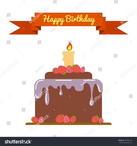 Flat Happy happy birthday flat template card birthday stock vector 392882194