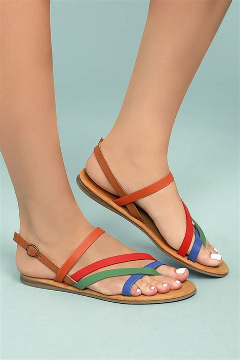 coloured flat shoes chic metallic sandals multi colored sandals vegan