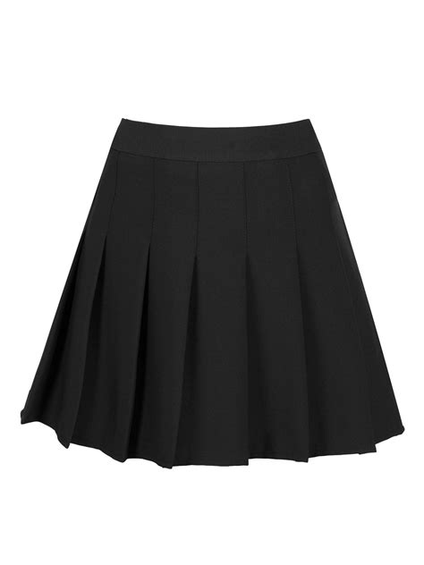 black high waist pleated mini skirt choies