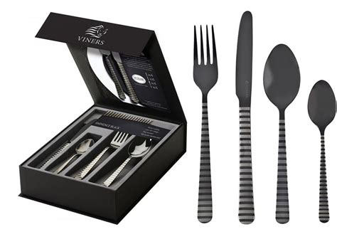 black cutlery set viners high eminence black stainless steel cutlery set 16 piece titanium coated ebay