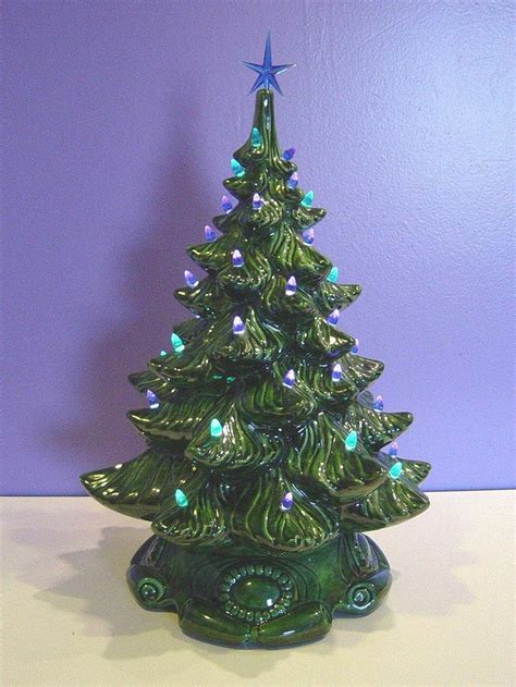 large vintage lighted christmas ceramic tree blue