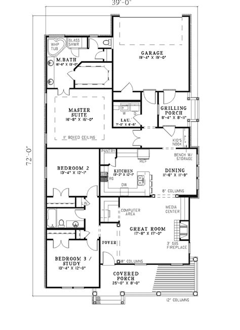 milburn acres narrow lot home plan 055d 0311 house plans