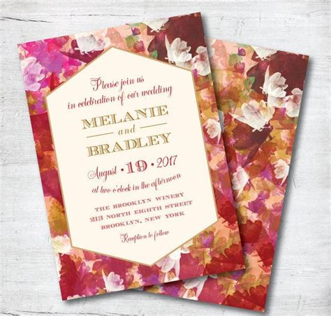 Marsala Wedding Invitation, Red Wedding Invitation, Fall