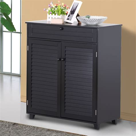 Entryway Shoe Cabinet by 3 Shelves Shoe Rack Storage Cabinet 1 Drawer 2 Doors