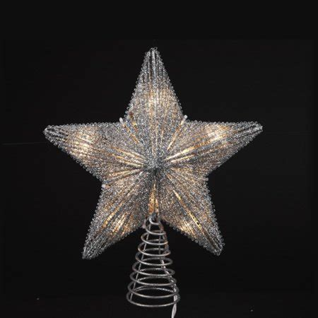 9 silver christmas tree 9 75 quot lighted silver glittered tree topper clear lights walmart