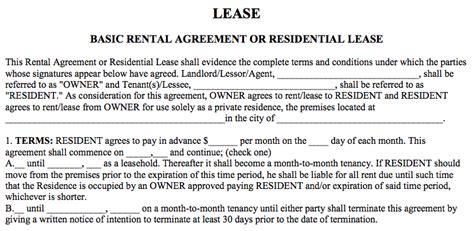 Basic Rental Agreement Or Residential Lease Beneficialholdings Info Basic Lease Agreement Template