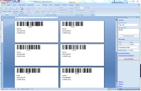 Microsoft Word 2007 Labels Template