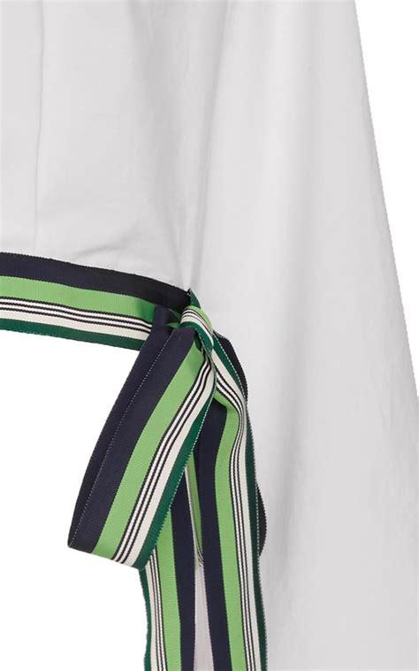Cropped Ribbon Trim lyst diane furstenberg cropped ribbon trim blouse in